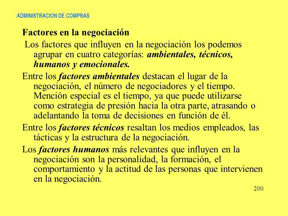 ADMINISTRACION DE COMPRAS Factores en la negociación Los factores que influyen en la negociación los podemos agrupar en cuatro categorías: ambientales