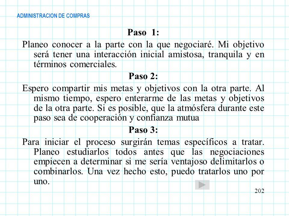 ADMINISTRACION DE COMPRAS Paso 1: Planeo conocer a la parte con la que negociaré. Mi objetivo será tener una interacción inicial amistosa, tranquila y