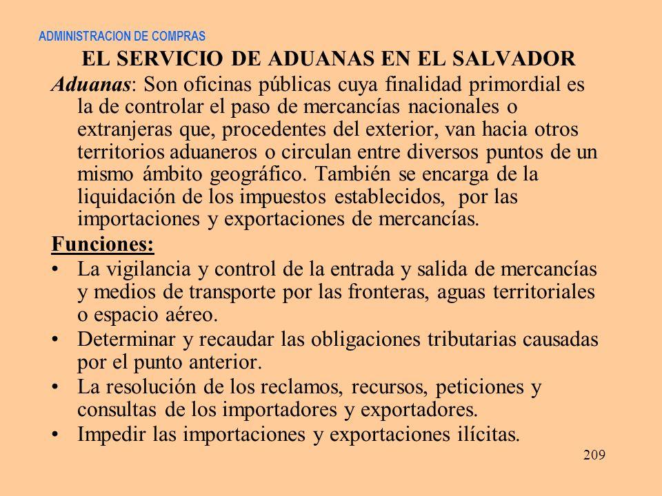 ADMINISTRACION DE COMPRAS EL SERVICIO DE ADUANAS EN EL SALVADOR Aduanas: Son oficinas públicas cuya finalidad primordial es la de controlar el paso de