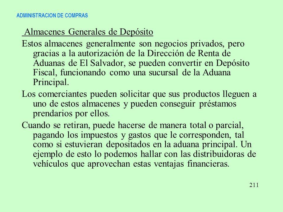 ADMINISTRACION DE COMPRAS Almacenes Generales de Depósito Estos almacenes generalmente son negocios privados, pero gracias a la autorización de la Dir