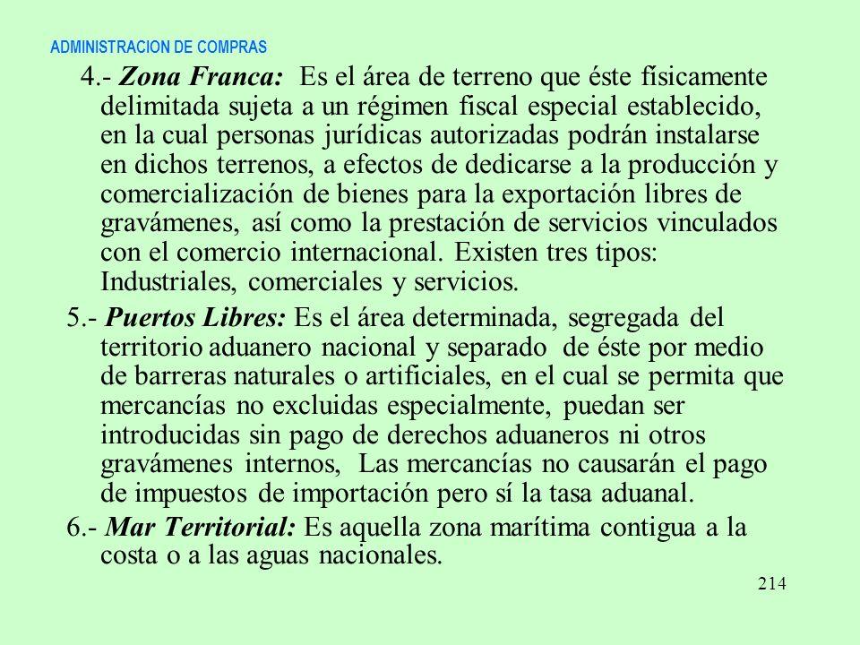 ADMINISTRACION DE COMPRAS 4.- Zona Franca: Es el área de terreno que éste físicamente delimitada sujeta a un régimen fiscal especial establecido, en l