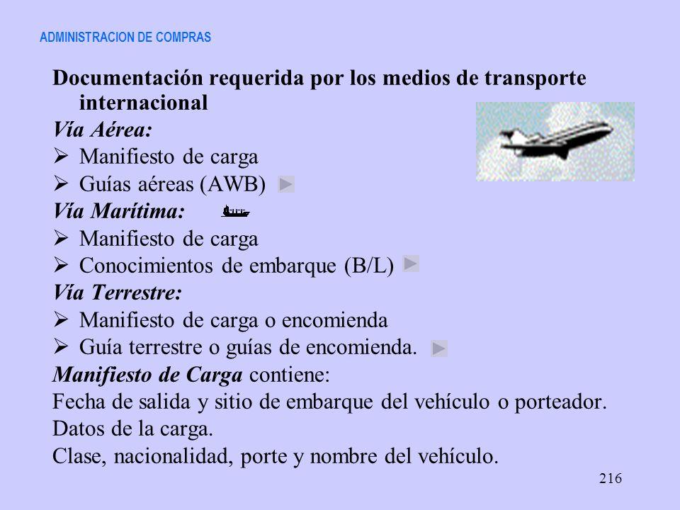 ADMINISTRACION DE COMPRAS Documentación requerida por los medios de transporte internacional Vía Aérea: Manifiesto de carga Guías aéreas (AWB) Vía Mar