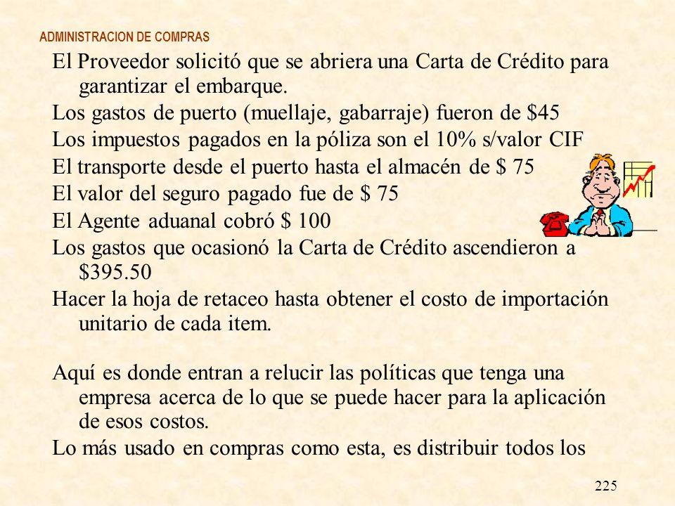 ADMINISTRACION DE COMPRAS El Proveedor solicitó que se abriera una Carta de Crédito para garantizar el embarque. Los gastos de puerto (muellaje, gabar