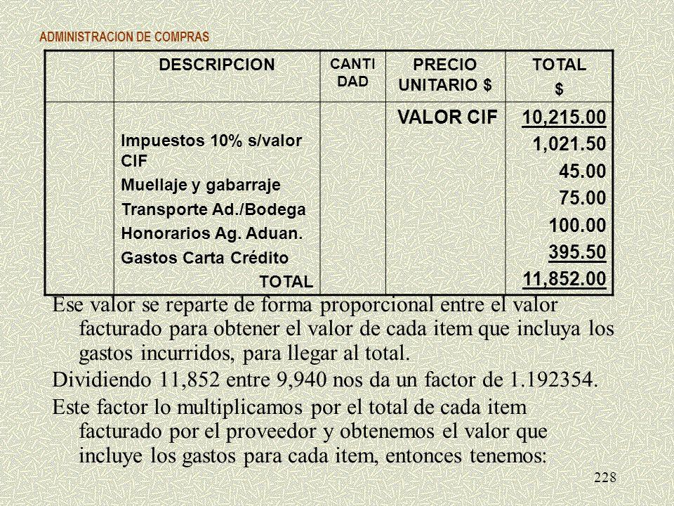 ADMINISTRACION DE COMPRAS Ese valor se reparte de forma proporcional entre el valor facturado para obtener el valor de cada item que incluya los gasto