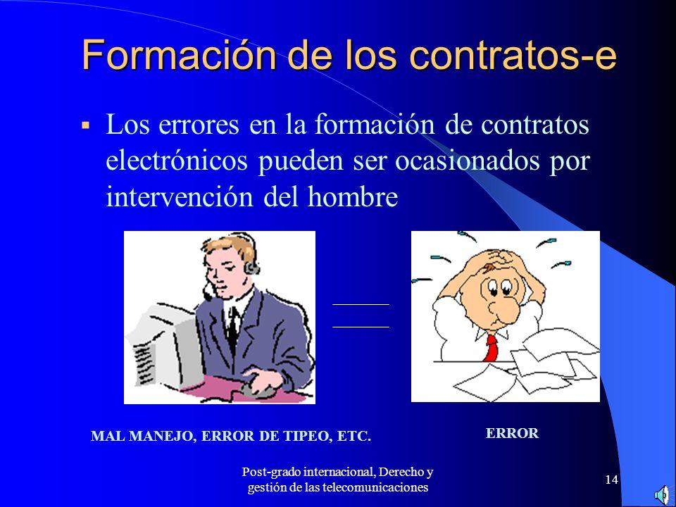 Post-grado internacional, Derecho y gestión de las telecomunicaciones 14 Formación de los contratos-e Los errores en la formación de contratos electró