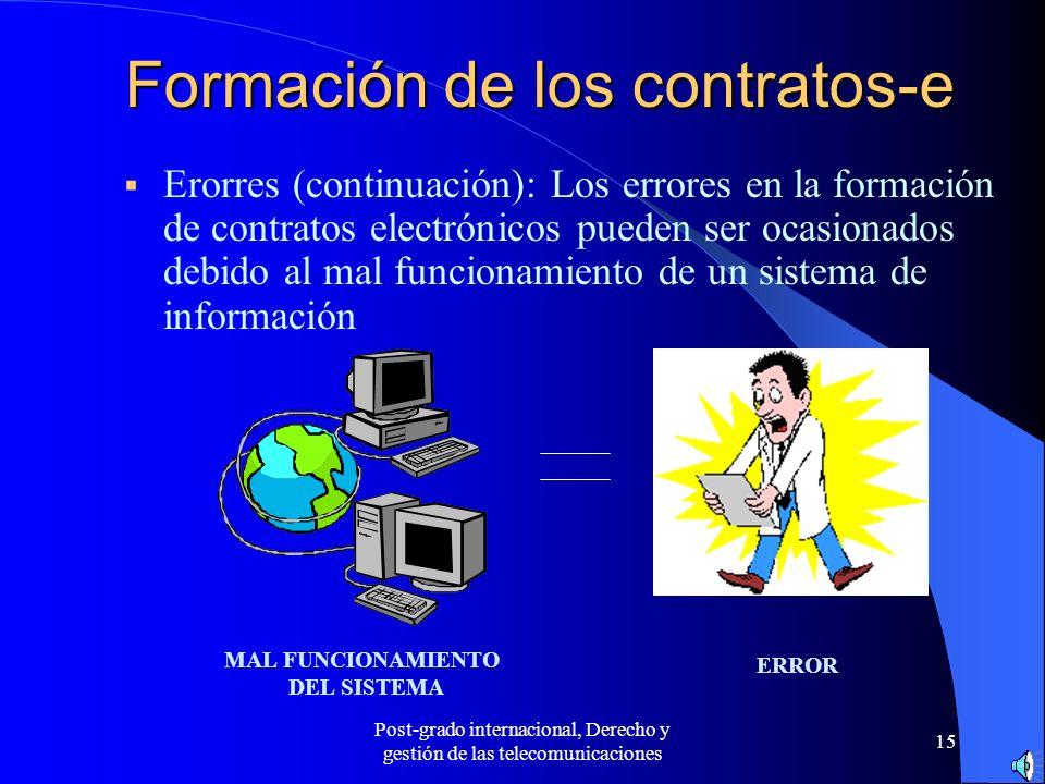Post-grado internacional, Derecho y gestión de las telecomunicaciones 15 Formación de los contratos-e Erorres (continuación): Los errores en la formac