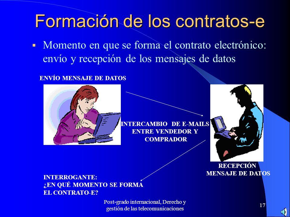 Post-grado internacional, Derecho y gestión de las telecomunicaciones 17 Formación de los contratos-e Momento en que se forma el contrato electrónico: