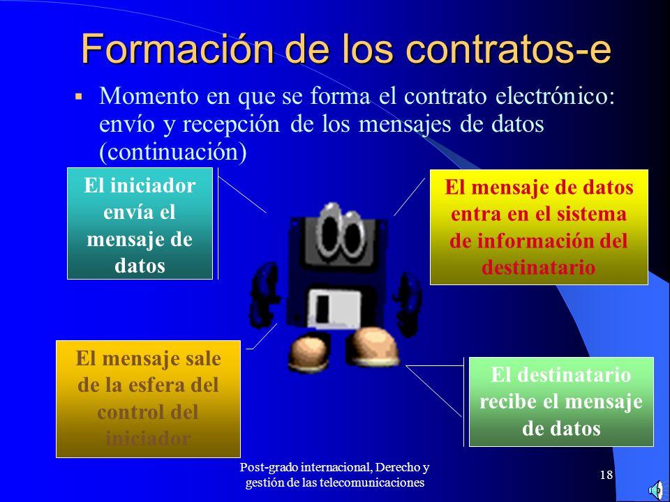 Post-grado internacional, Derecho y gestión de las telecomunicaciones 18 Formación de los contratos-e Momento en que se forma el contrato electrónico: