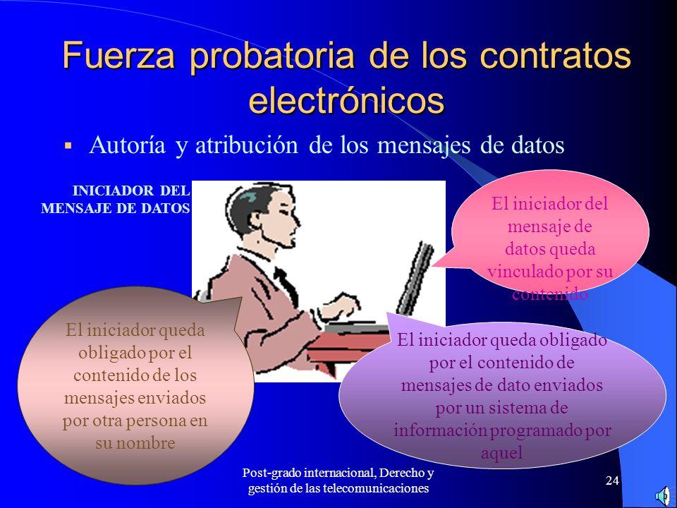 Post-grado internacional, Derecho y gestión de las telecomunicaciones 24 Fuerza probatoria de los contratos electrónicos Autoría y atribución de los m