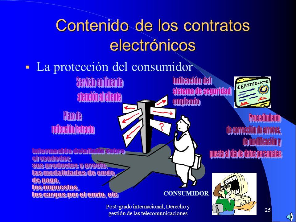 Post-grado internacional, Derecho y gestión de las telecomunicaciones 25 Contenido de los contratos electrónicos La protección del consumidor CONSUMID