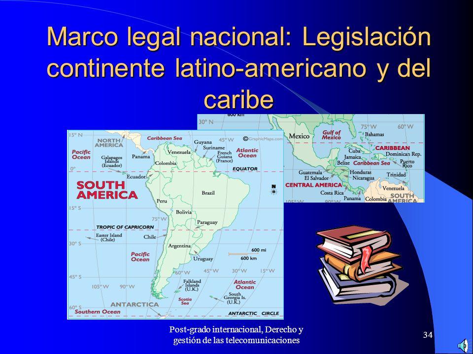Post-grado internacional, Derecho y gestión de las telecomunicaciones 34 Marco legal nacional: Legislación continente latino-americano y del caribe