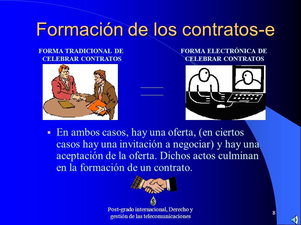 Post-grado internacional, Derecho y gestión de las telecomunicaciones 8 Formación de los contratos-e En ambos casos, hay una oferta, (en ciertos casos