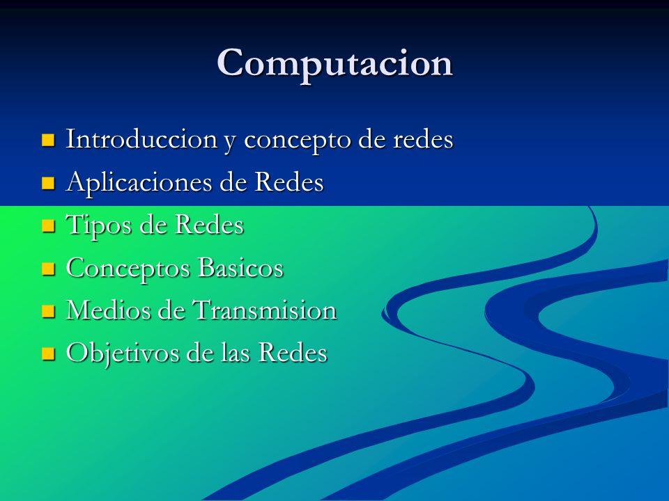 Computacion Introduccion y concepto de redes Introduccion y concepto de redes Aplicaciones de Redes Aplicaciones de Redes Tipos de Redes Tipos de Rede