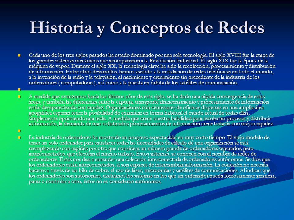 Historia y Conceptos de Redes Cada uno de los tres siglos pasados ha estado dominado por una sola tecnología. El siglo XVIII fue la etapa de los grand