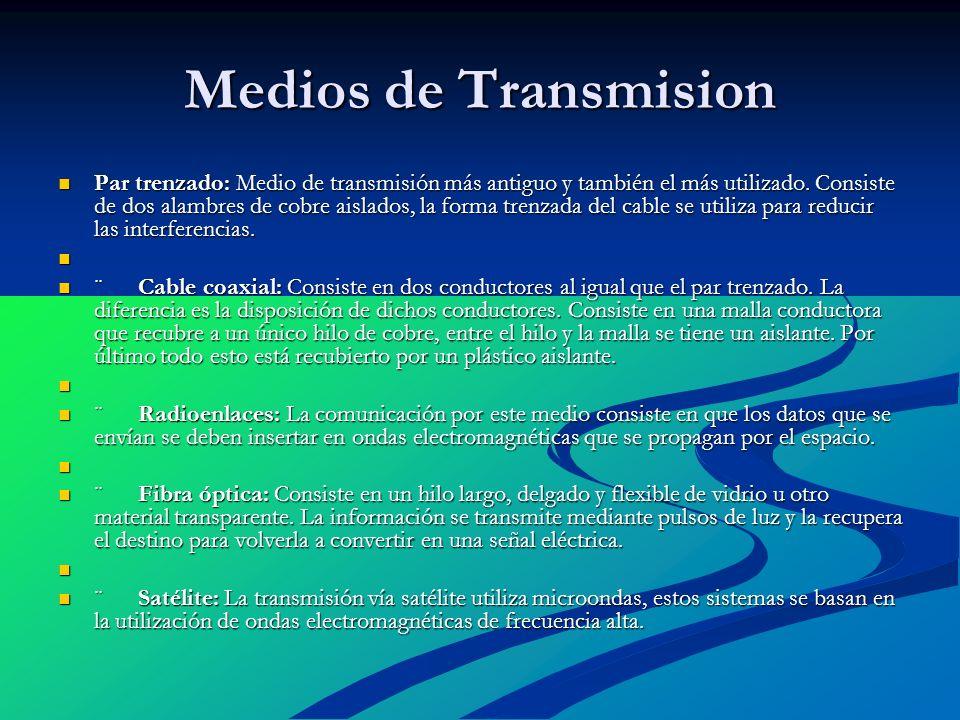 Medios de Transmision Par trenzado: Medio de transmisión más antiguo y también el más utilizado. Consiste de dos alambres de cobre aislados, la forma