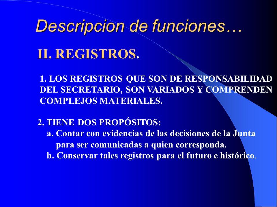 Descripcion de funciones… II. REGISTROS. 1. LOS REGISTROS QUE SON DE RESPONSABILIDAD DEL SECRETARIO, SON VARIADOS Y COMPRENDEN COMPLEJOS MATERIALES. 2