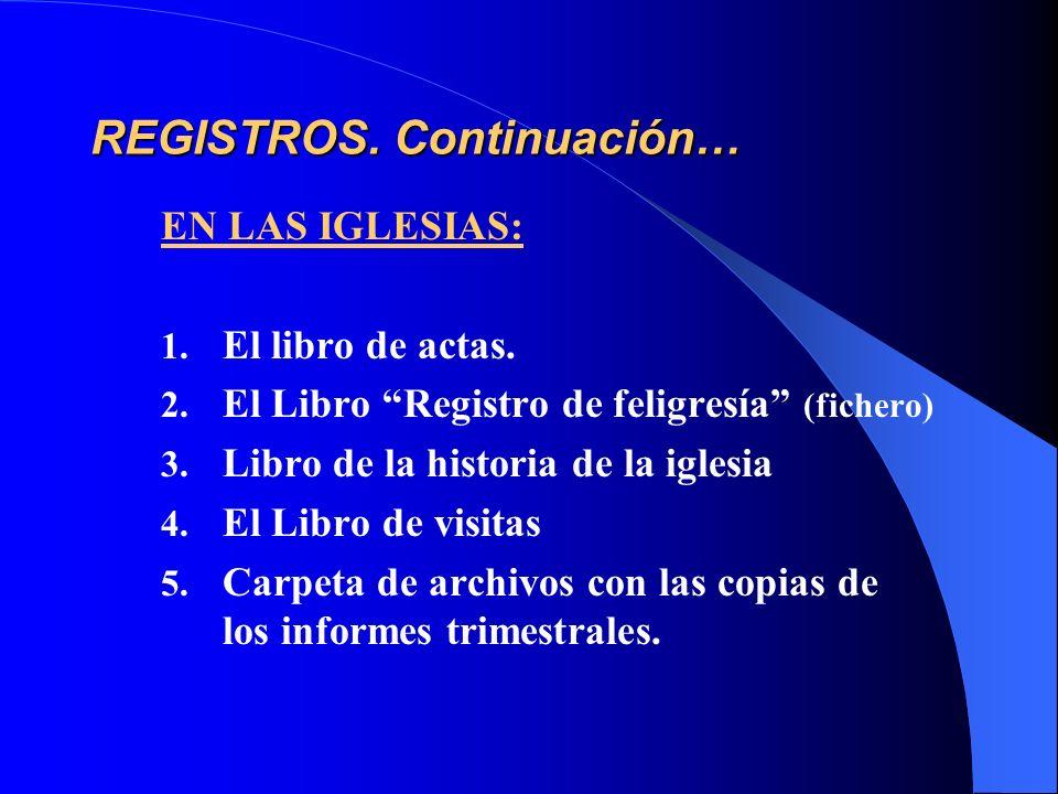 REGISTROS. Continuación… EN LAS IGLESIAS: 1. El libro de actas. 2. El Libro Registro de feligresía (fichero) 3. Libro de la historia de la iglesia 4.
