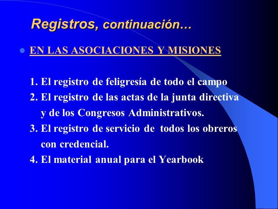 Registros, continuación… EN LAS ASOCIACIONES Y MISIONES 1. El registro de feligresía de todo el campo 2. El registro de las actas de la junta directiv