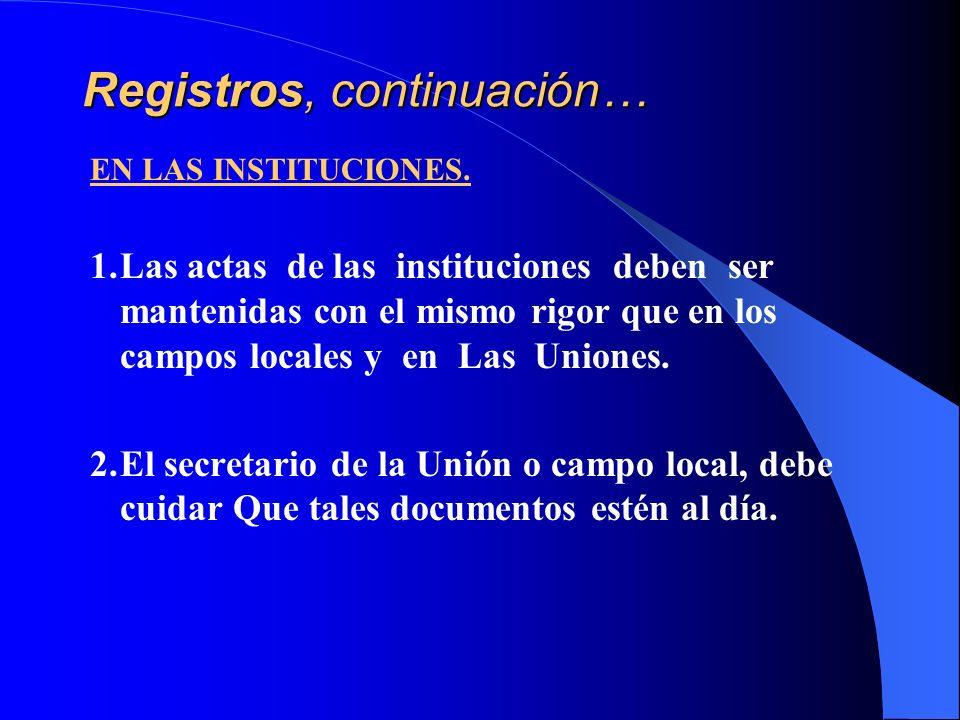 Registros, continuación… EN LAS INSTITUCIONES. 1.Las actas de las instituciones deben ser mantenidas con el mismo rigor que en los campos locales y en