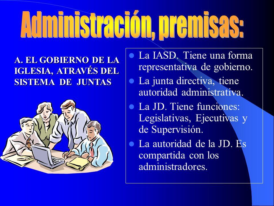La IASD. Tiene una forma representativa de gobierno. La junta directiva, tiene autoridad administrativa. La JD. Tiene funciones: Legislativas, Ejecuti