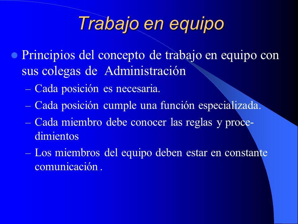 Trabajo en equipo Principios del concepto de trabajo en equipo con sus colegas de Administración – Cada posición es necesaria. – Cada posición cumple
