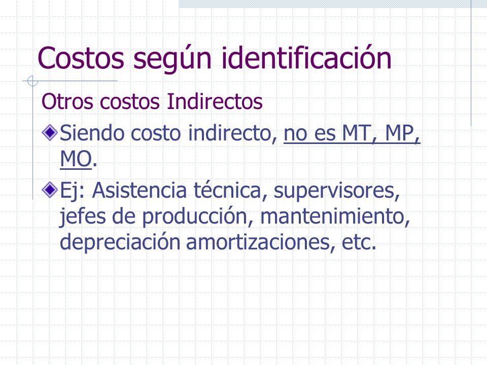 Otros costos Indirectos Siendo costo indirecto, no es MT, MP, MO.
