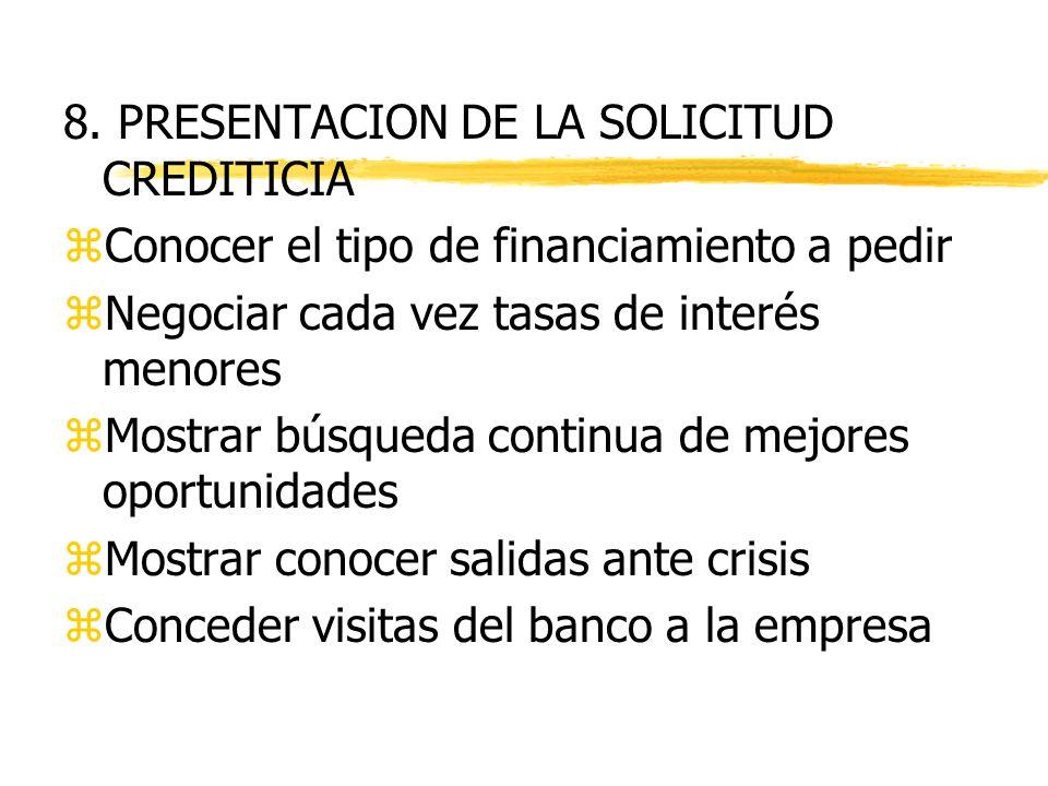 7. ETAPAS DE ANALISIS PARA LA SOLICITUD DE CREDITOS Perfil de la empresa Revisión de historial crediticio Información financiera Consultas sobre parti