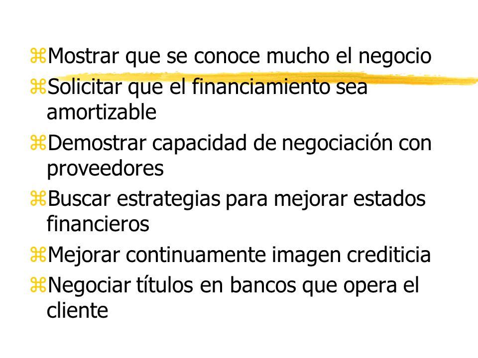 8. PRESENTACION DE LA SOLICITUD CREDITICIA zConocer el tipo de financiamiento a pedir zNegociar cada vez tasas de interés menores zMostrar búsqueda co