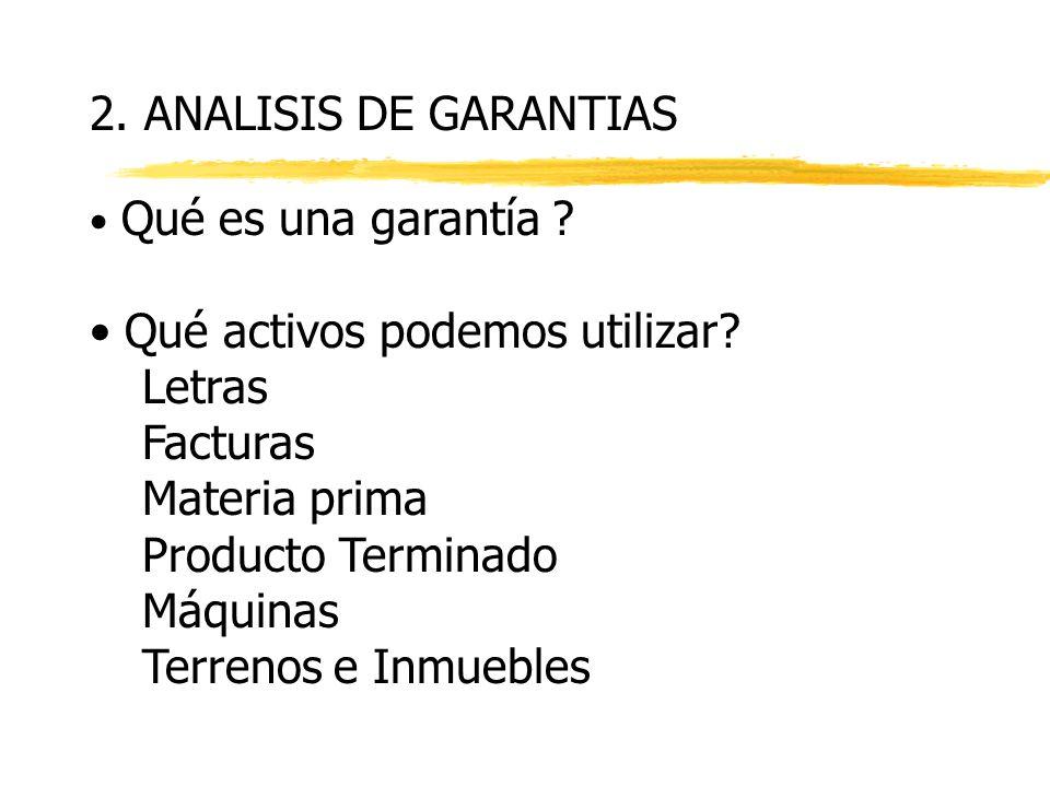 2.ANALISIS DE GARANTIAS Qué es una garantía . Qué activos podemos utilizar.