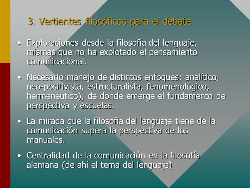 3. Vertientes filosóficos para el debate Exploraciones desde la filosofía del lenguaje, mismas que no ha explotado el pensamiento comunicacional.Explo