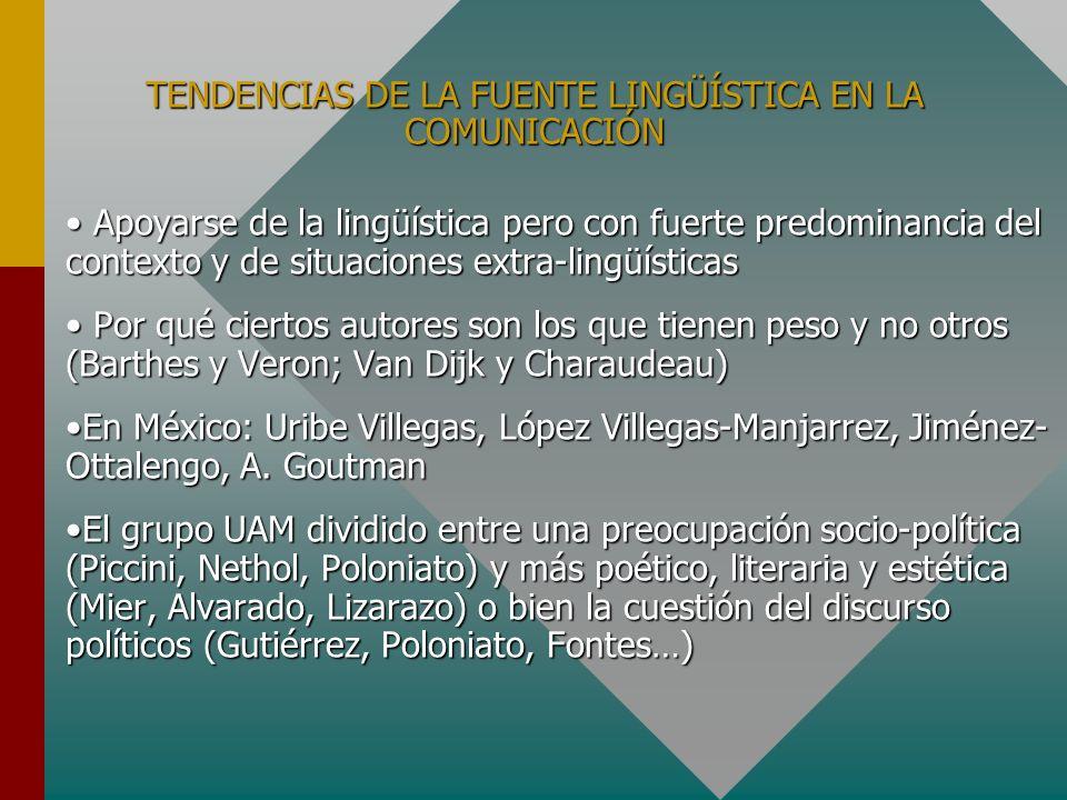 TENDENCIAS DE LA FUENTE LINGÜÍSTICA EN LA COMUNICACIÓN Apoyarse de la lingüística pero con fuerte predominancia del contexto y de situaciones extra-li