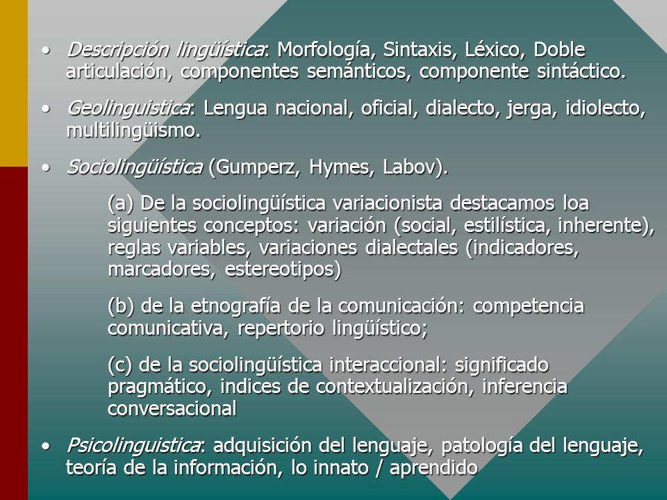 Descripción lingüística: Morfología, Sintaxis, Léxico, Doble articulación, componentes semánticos, componente sintáctico.Descripción lingüística: Morf