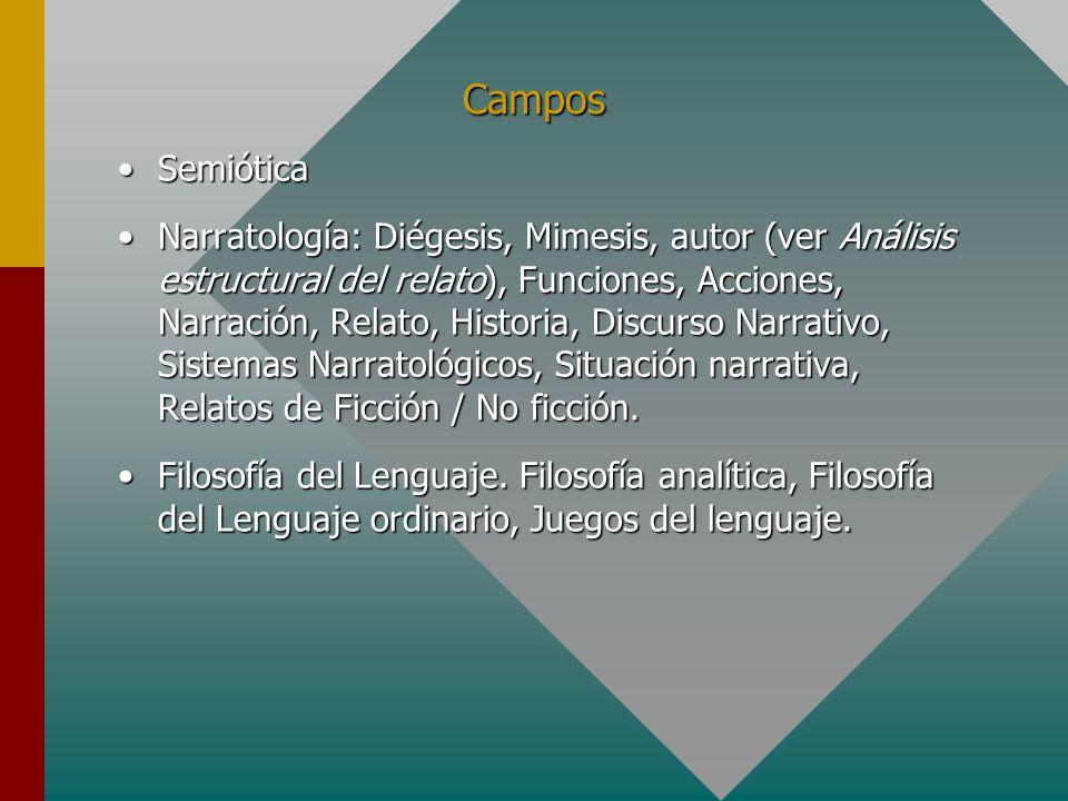 Campos SemióticaSemiótica Narratología: Diégesis, Mimesis, autor (ver Análisis estructural del relato), Funciones, Acciones, Narración, Relato, Histor