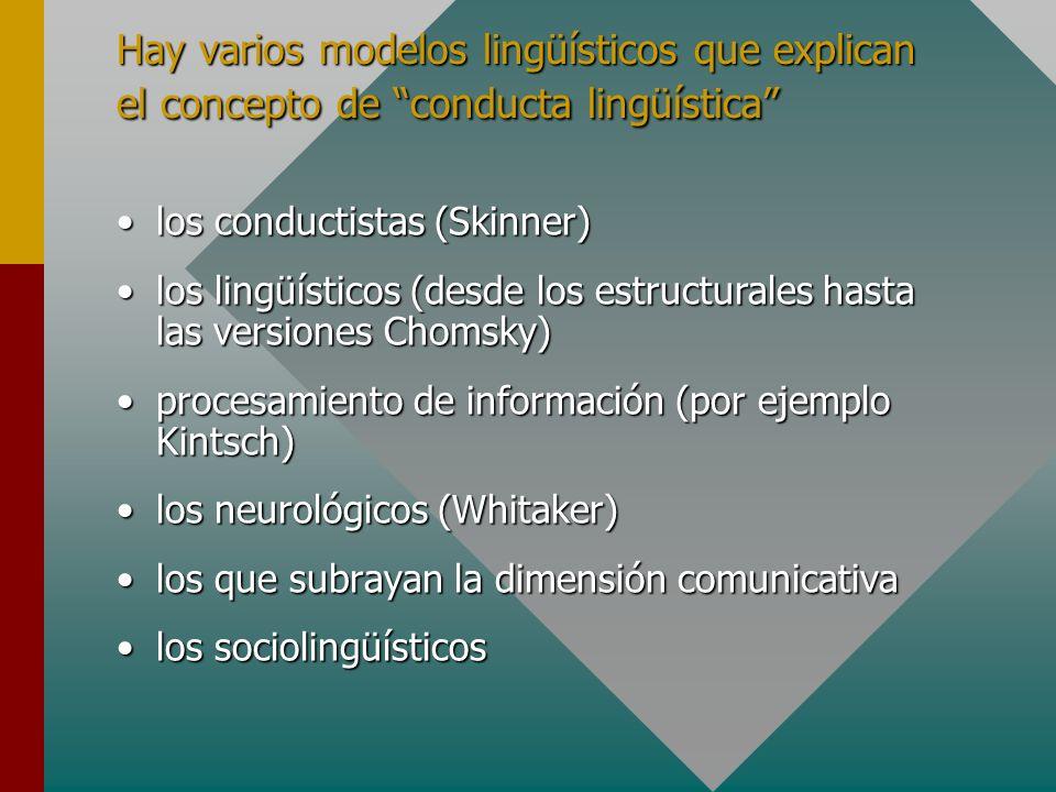 Hay varios modelos lingüísticos que explican el concepto de conducta lingüística los conductistas (Skinner)los conductistas (Skinner) los lingüísticos