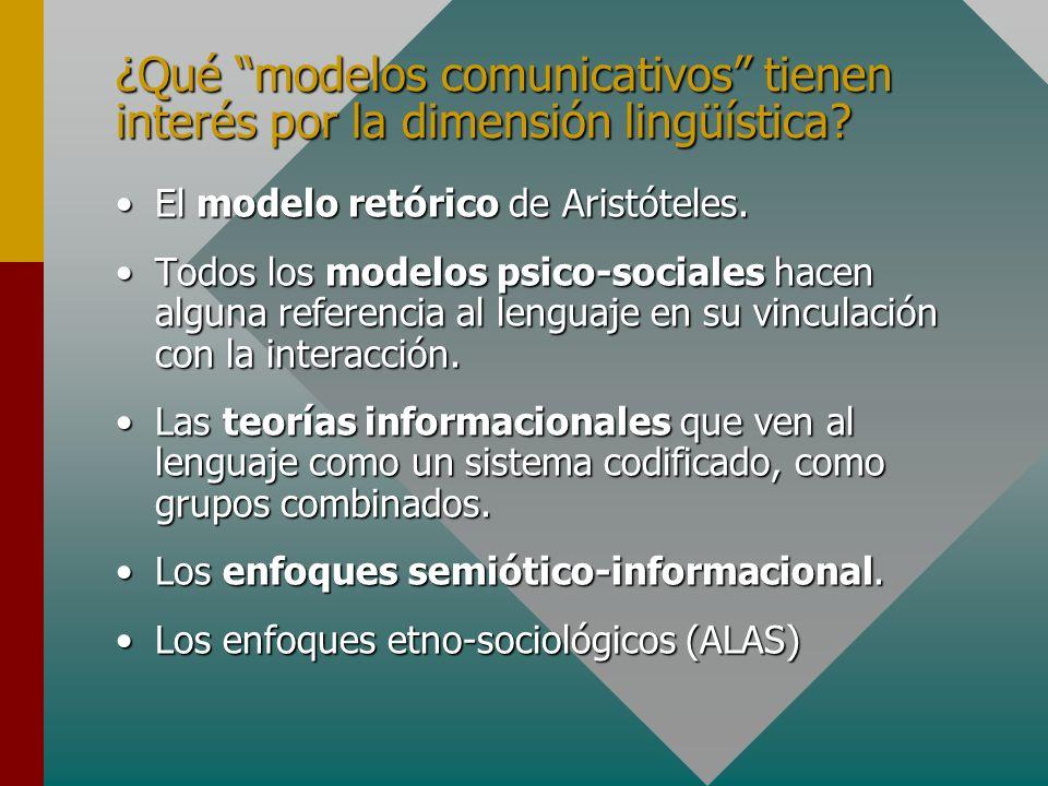 ¿Qué modelos comunicativos tienen interés por la dimensión lingüística? El modelo retórico de Aristóteles.El modelo retórico de Aristóteles. Todos los
