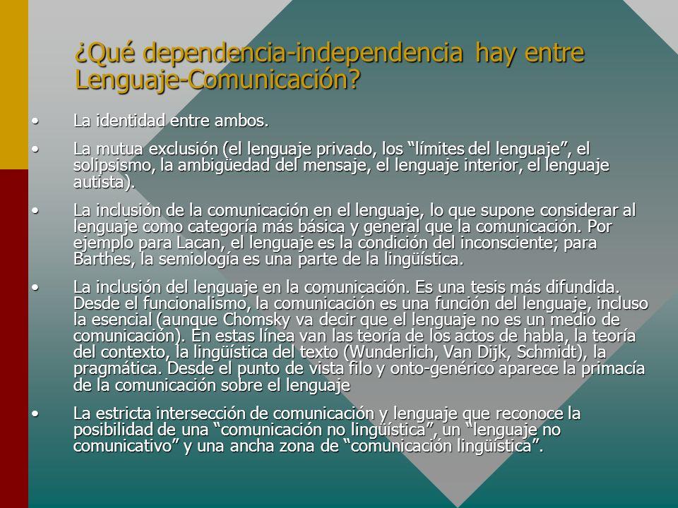 ¿Qué dependencia-independencia hay entre Lenguaje-Comunicación? La identidad entre ambos.La identidad entre ambos. La mutua exclusión (el lenguaje pri