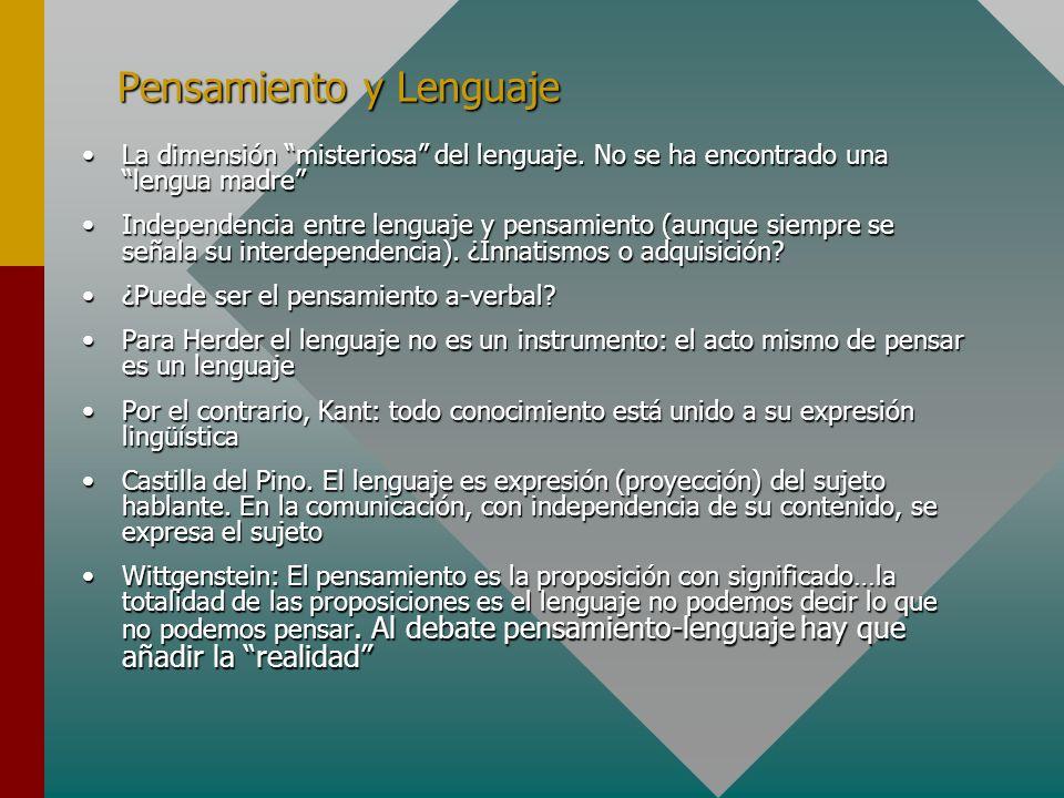 Pensamiento y Lenguaje La dimensión misteriosa del lenguaje. No se ha encontrado una lengua madreLa dimensión misteriosa del lenguaje. No se ha encont
