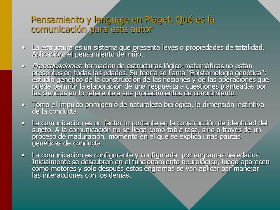 Pensamiento y lenguaje en Piaget. Qué es la comunicación para este autor La estructura es un sistema que presenta leyes o propiedades de totalidad. Ap