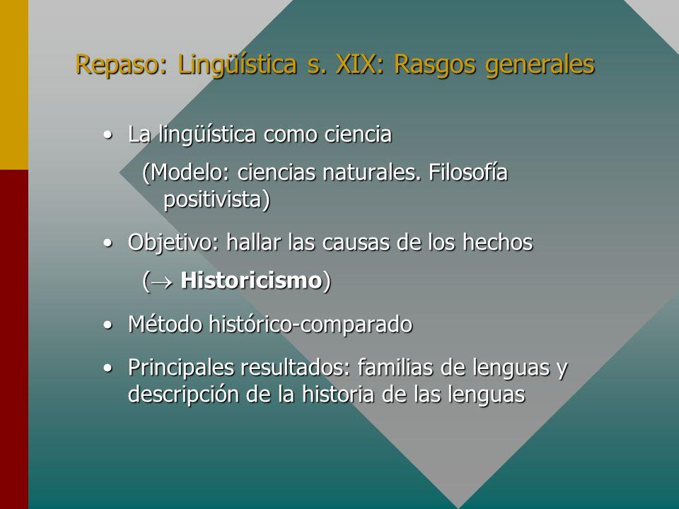 Repaso: Lingüística s. XIX: Rasgos generales La lingüística como cienciaLa lingüística como ciencia (Modelo: ciencias naturales. Filosofía positivista