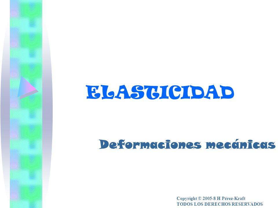 ELASTICIDAD Deformaciones mecánicas Copyright © 2005-8 H Pérez-Kraft TODOS LOS DERECHOS RESERVADOS