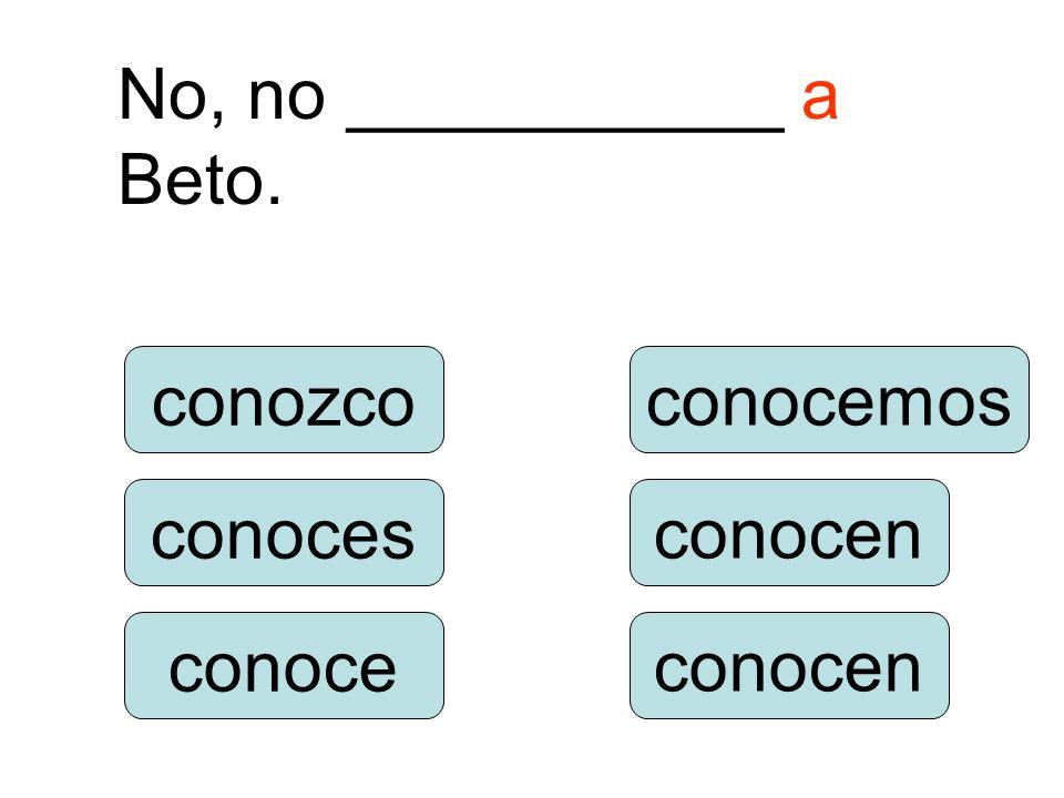 conozco conoce conoces conocéis conocemos conocen ¿__________ tú a Beto?.