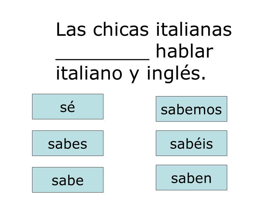 saben sabes sabe sabemos sabéis sé Nosotros ________ hablar inglés muy bien.
