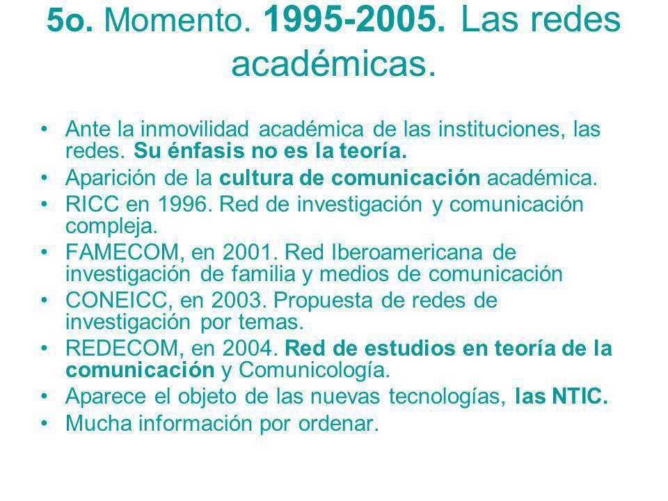 5o. Momento. 1995-2005. Las redes académicas. Ante la inmovilidad académica de las instituciones, las redes. Su énfasis no es la teoría. Aparición de