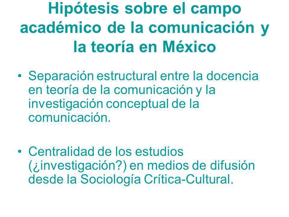 Hipótesis sobre el campo académico de la comunicación y la teoría en México Separación estructural entre la docencia en teoría de la comunicación y la