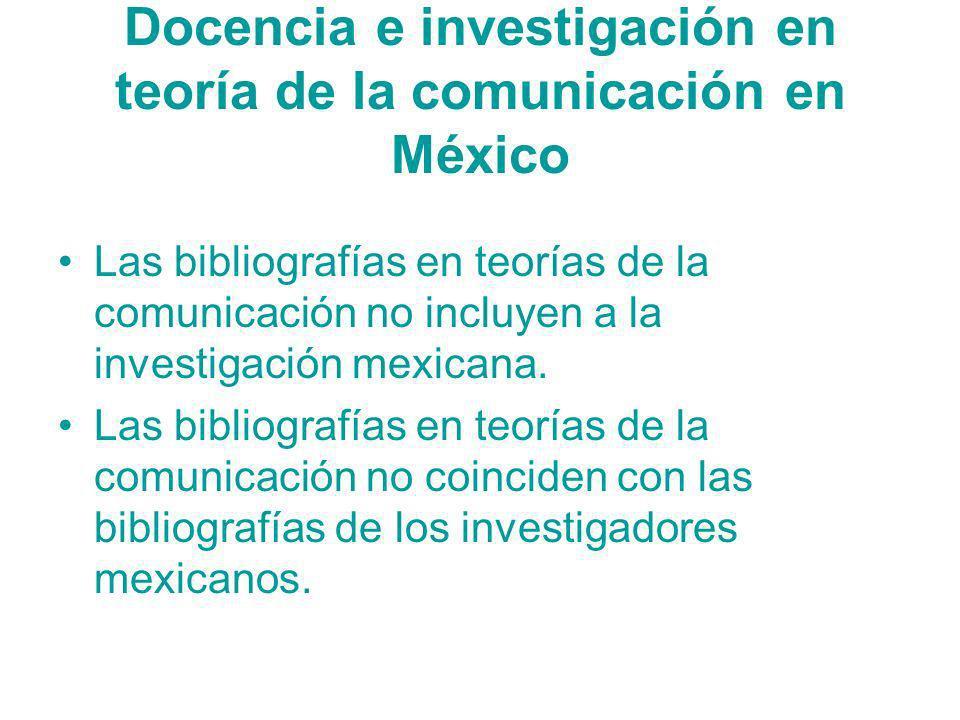 Docencia e investigación en teoría de la comunicación en México Las bibliografías en teorías de la comunicación no incluyen a la investigación mexican