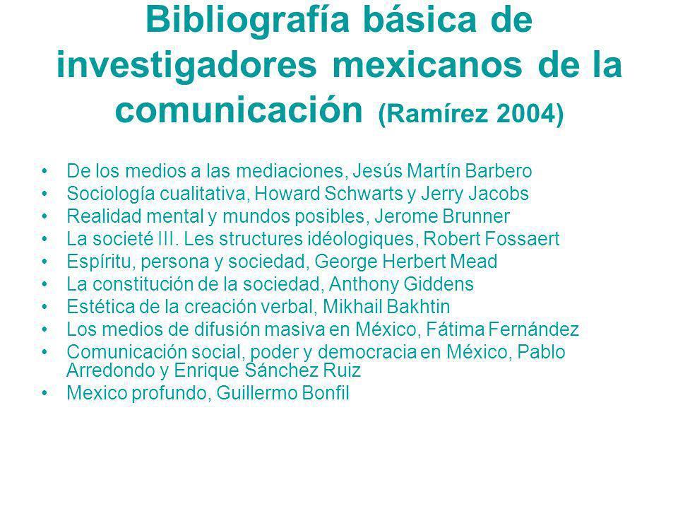 Bibliografía básica de investigadores mexicanos de la comunicación (Ramírez 2004) De los medios a las mediaciones, Jesús Martín Barbero Sociología cua