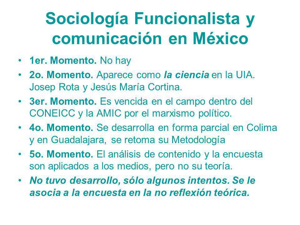 Sociología Funcionalista y comunicación en México 1er. Momento. No hay 2o. Momento. Aparece como la ciencia en la UIA. Josep Rota y Jesús María Cortin