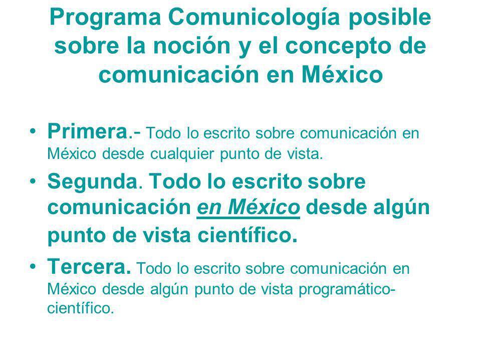 Programa Comunicología posible sobre la noción y el concepto de comunicación en México Primera.- Todo lo escrito sobre comunicación en México desde cu