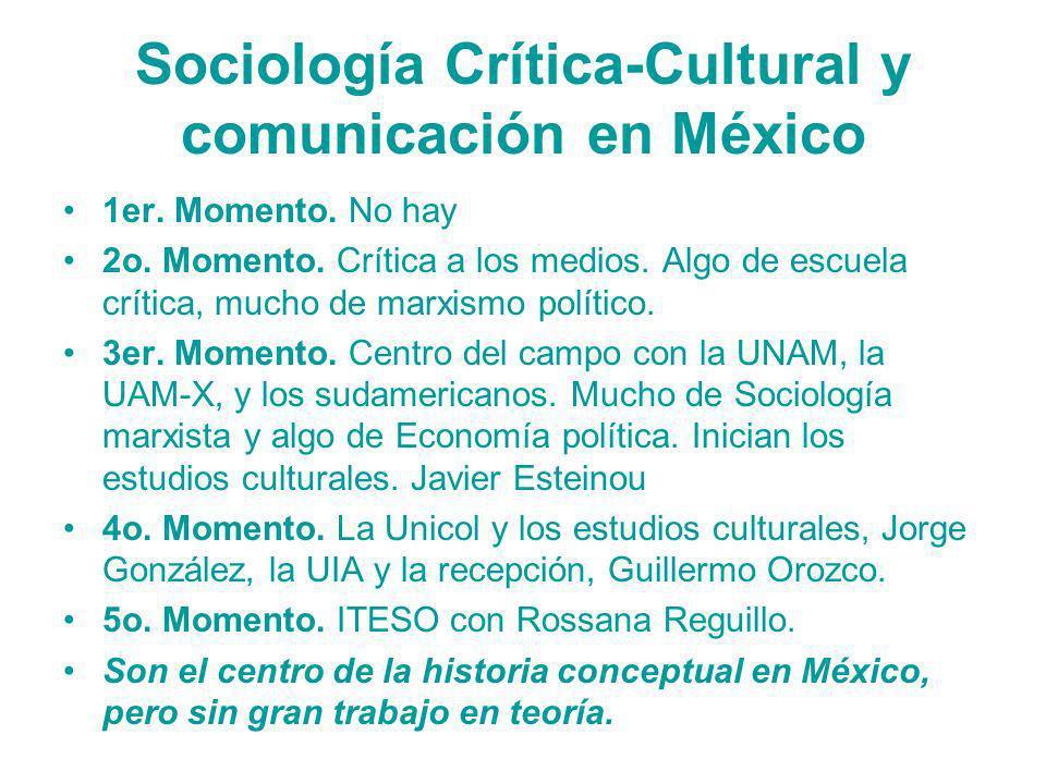 Sociología Crítica-Cultural y comunicación en México 1er. Momento. No hay 2o. Momento. Crítica a los medios. Algo de escuela crítica, mucho de marxism