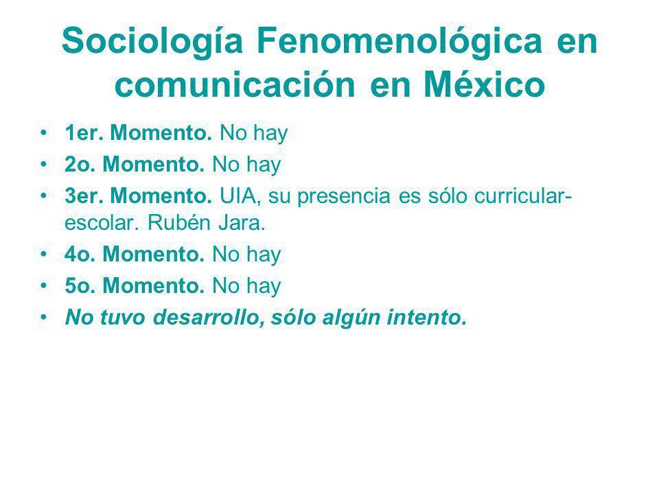 Sociología Fenomenológica en comunicación en México 1er. Momento. No hay 2o. Momento. No hay 3er. Momento. UIA, su presencia es sólo curricular- escol